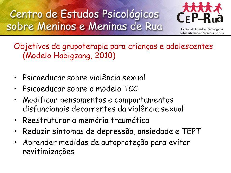 Objetivos da grupoterapia para crianças e adolescentes (Modelo Habigzang, 2010)