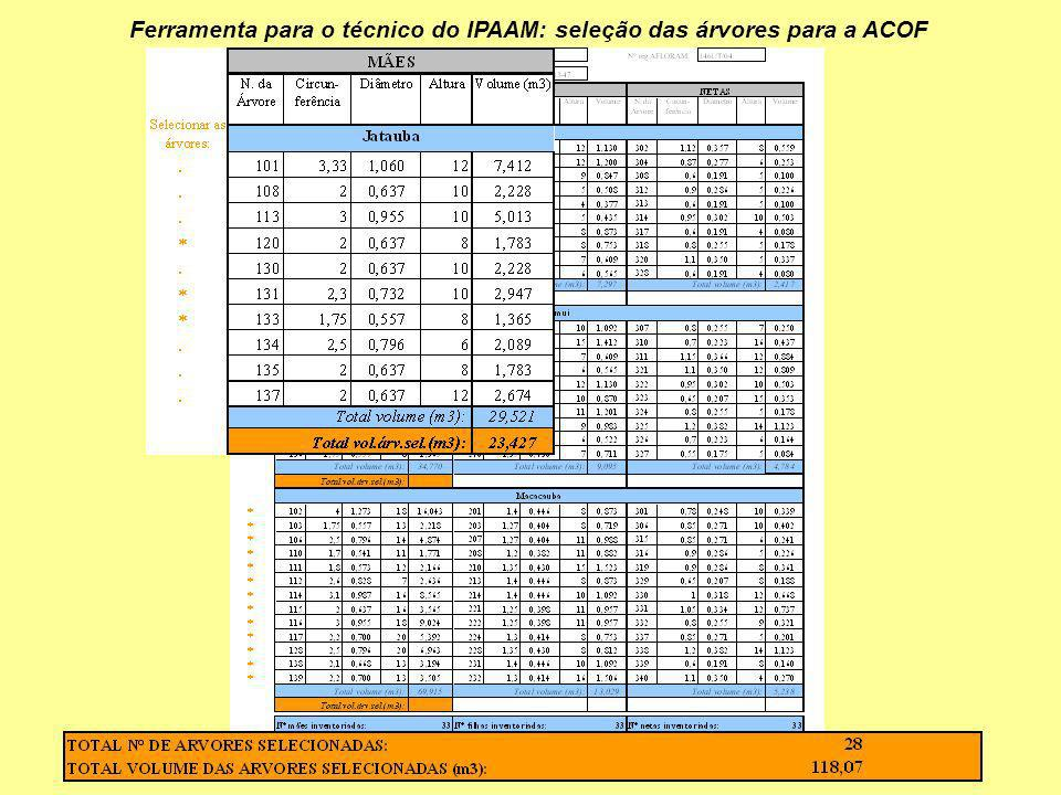 Ferramenta para o técnico do IPAAM: seleção das árvores para a ACOF