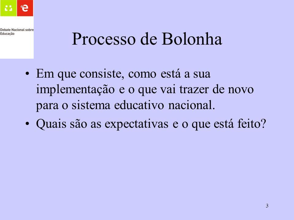 Processo de Bolonha Em que consiste, como está a sua implementação e o que vai trazer de novo para o sistema educativo nacional.