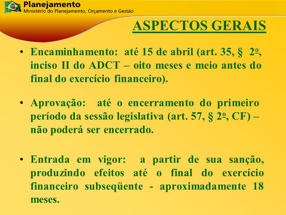 ASPECTOS GERAIS Encaminhamento: até 15 de abril (art. 35, § 2o, inciso II do ADCT – oito meses e meio antes do final do exercício financeiro).