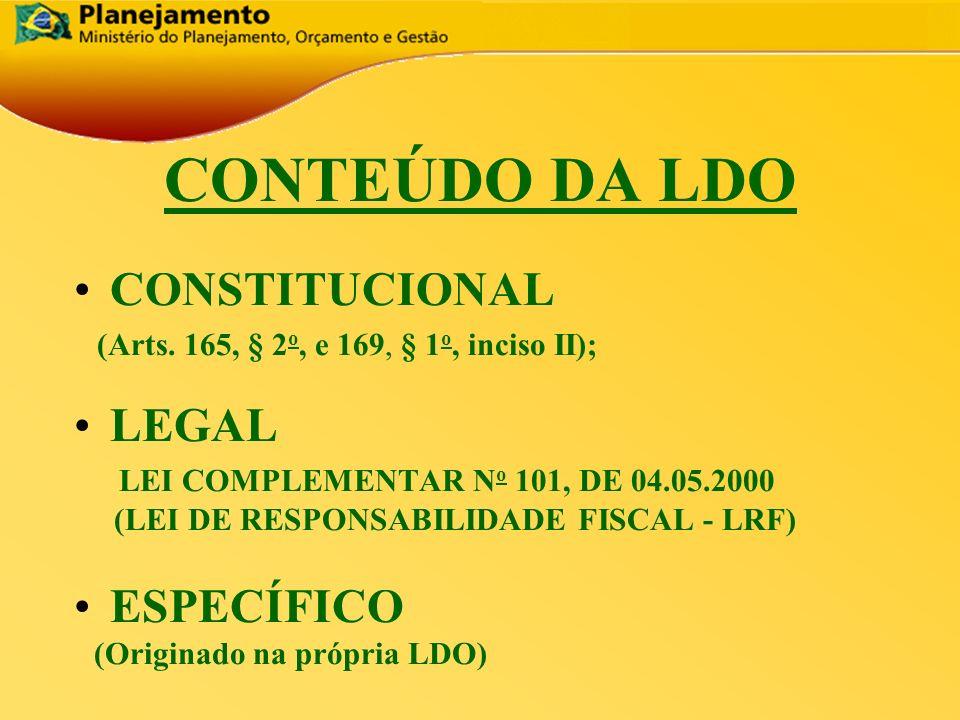 CONTEÚDO DA LDO CONSTITUCIONAL LEGAL ESPECÍFICO