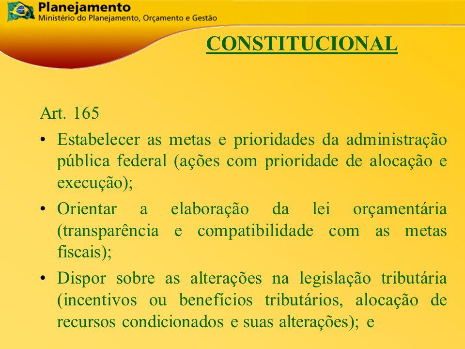 CONSTITUCIONAL Art. 165. Estabelecer as metas e prioridades da administração pública federal (ações com prioridade de alocação e execução);