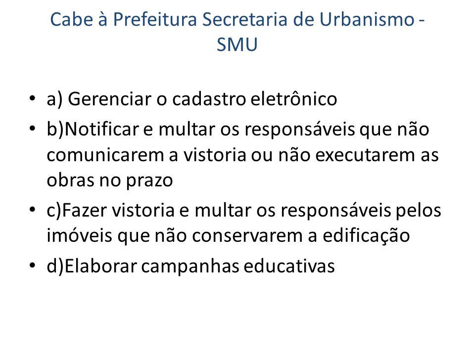 Cabe à Prefeitura Secretaria de Urbanismo - SMU