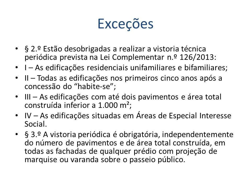 Exceções § 2.º Estão desobrigadas a realizar a vistoria técnica periódica prevista na Lei Complementar n.º 126/2013: