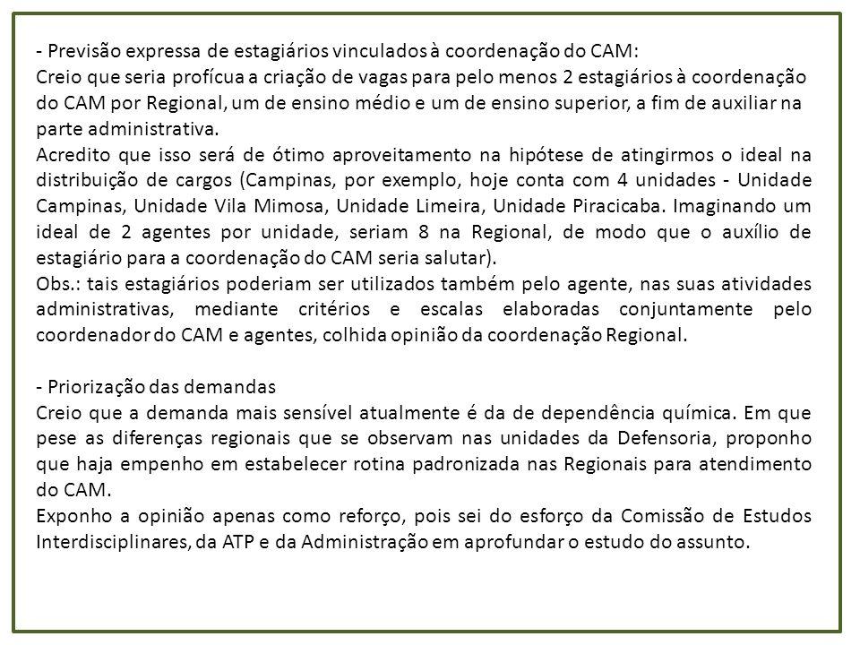- Previsão expressa de estagiários vinculados à coordenação do CAM: