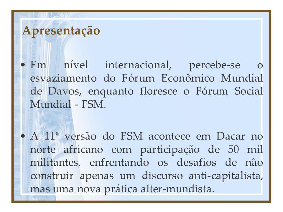 Apresentação Em nível internacional, percebe-se o esvaziamento do Fórum Econômico Mundial de Davos, enquanto floresce o Fórum Social Mundial - FSM.