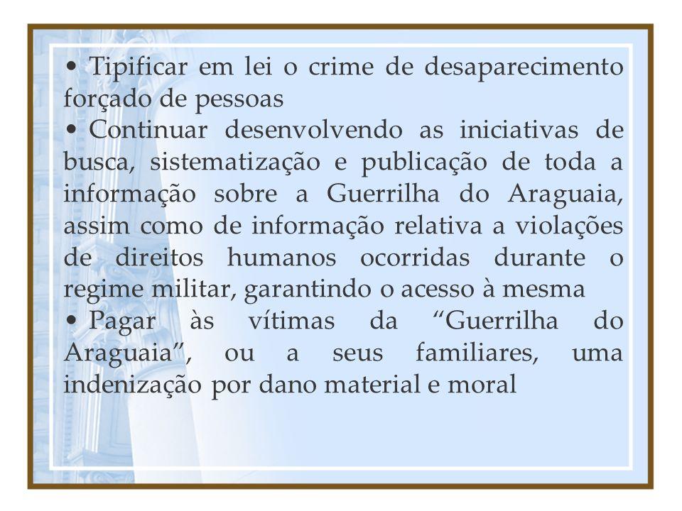 Tipificar em lei o crime de desaparecimento forçado de pessoas
