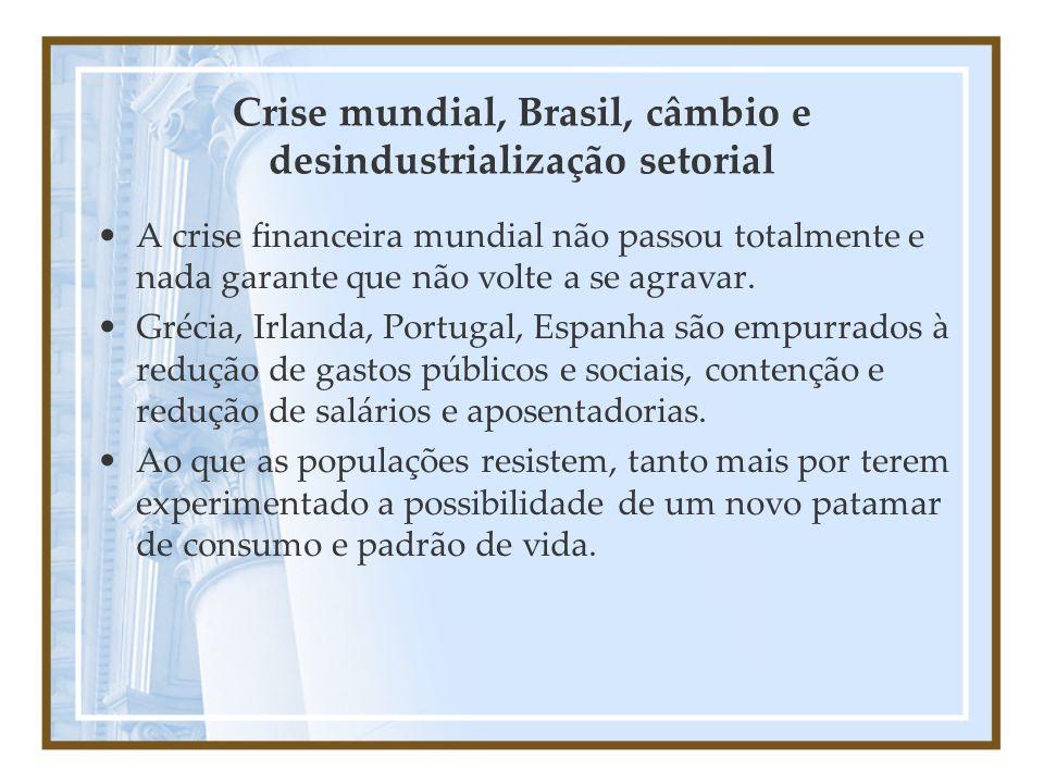 Crise mundial, Brasil, câmbio e desindustrialização setorial