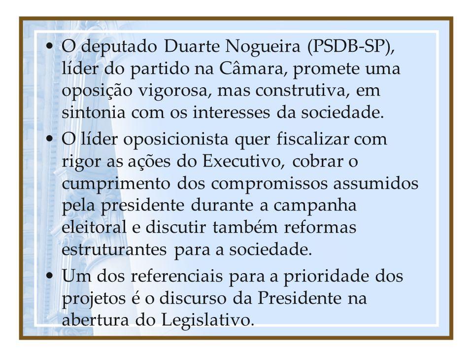 O deputado Duarte Nogueira (PSDB-SP), líder do partido na Câmara, promete uma oposição vigorosa, mas construtiva, em sintonia com os interesses da sociedade.