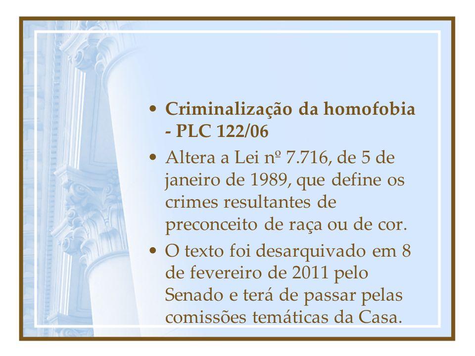 Criminalização da homofobia - PLC 122/06
