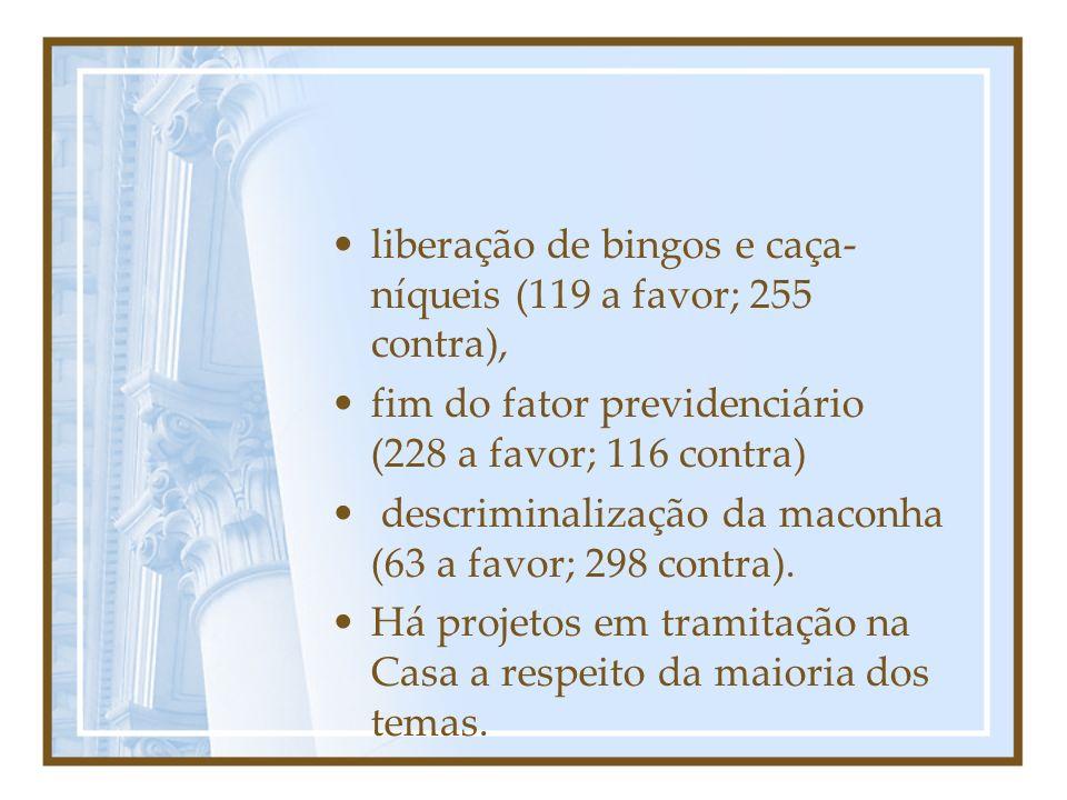 liberação de bingos e caça-níqueis (119 a favor; 255 contra),