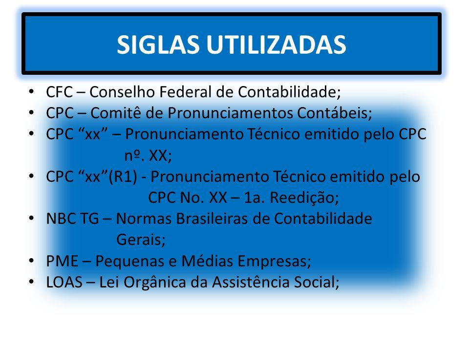 SIGLAS UTILIZADAS CFC – Conselho Federal de Contabilidade;