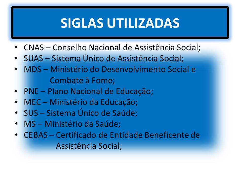 SIGLAS UTILIZADAS CNAS – Conselho Nacional de Assistência Social;