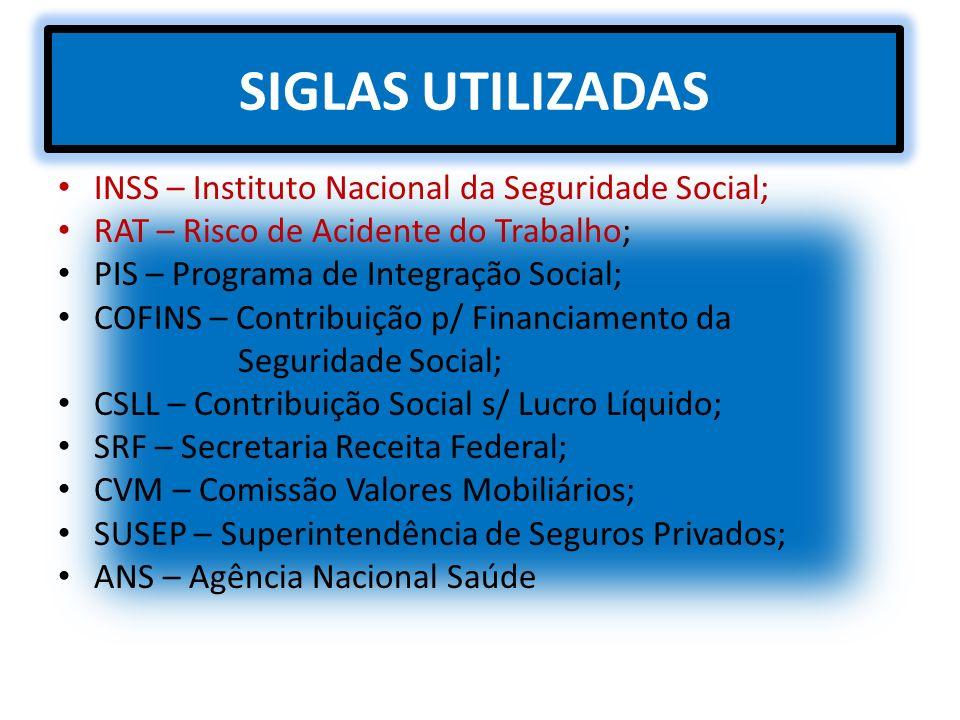 SIGLAS UTILIZADAS INSS – Instituto Nacional da Seguridade Social;
