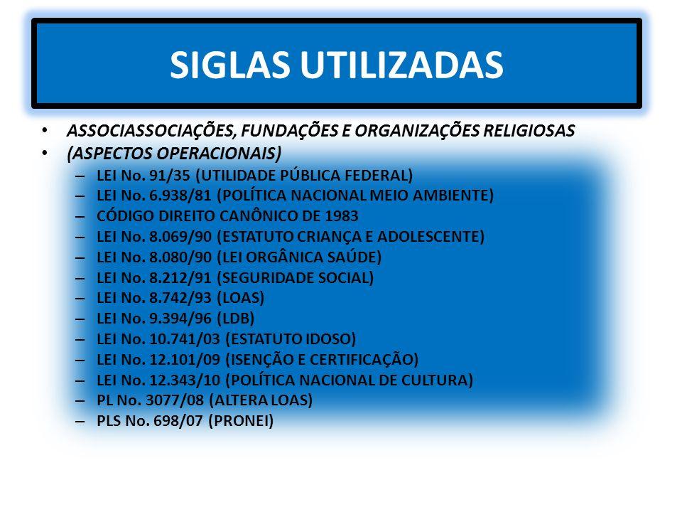 SIGLAS UTILIZADAS ASSOCIASSOCIAÇÕES, FUNDAÇÕES E ORGANIZAÇÕES RELIGIOSAS. (ASPECTOS OPERACIONAIS) LEI No. 91/35 (UTILIDADE PÚBLICA FEDERAL)