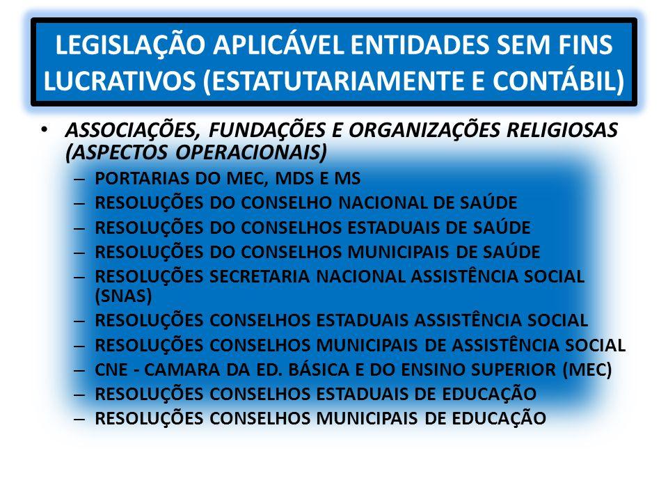 LEGISLAÇÃO APLICÁVEL ENTIDADES SEM FINS LUCRATIVOS (ESTATUTARIAMENTE E CONTÁBIL)