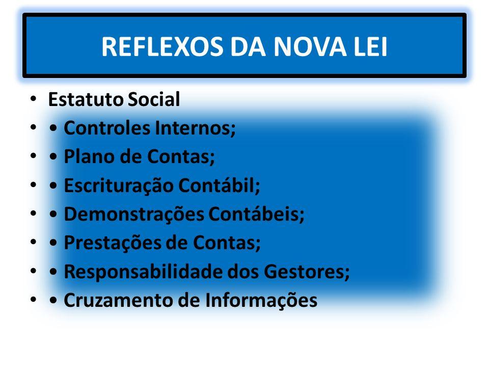 REFLEXOS DA NOVA LEI Estatuto Social • Controles Internos;