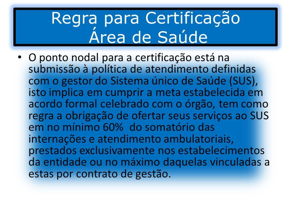 Regra para Certificação Área de Saúde