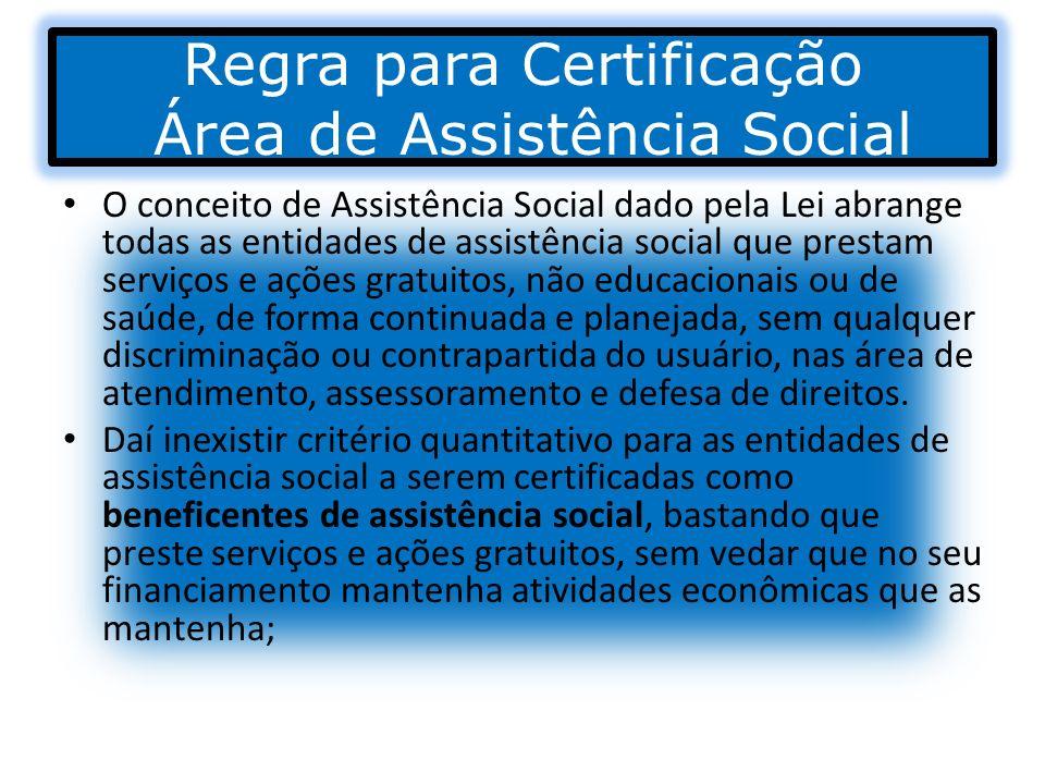 Regra para Certificação Área de Assistência Social