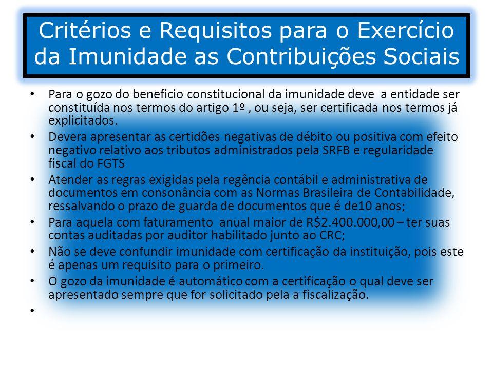 Critérios e Requisitos para o Exercício da Imunidade as Contribuições Sociais