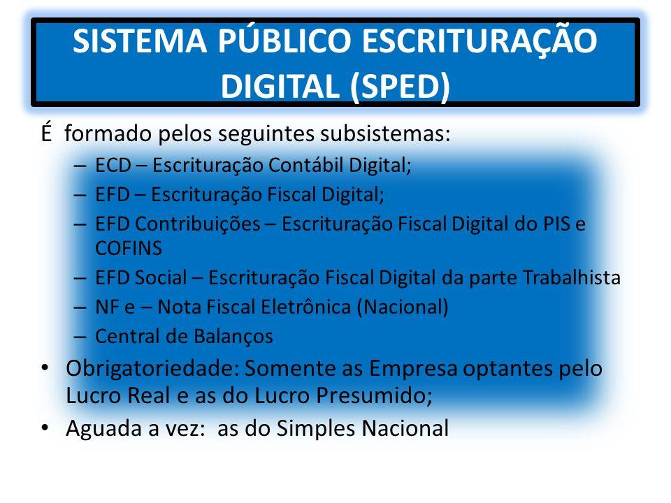 SISTEMA PÚBLICO ESCRITURAÇÃO DIGITAL (SPED)