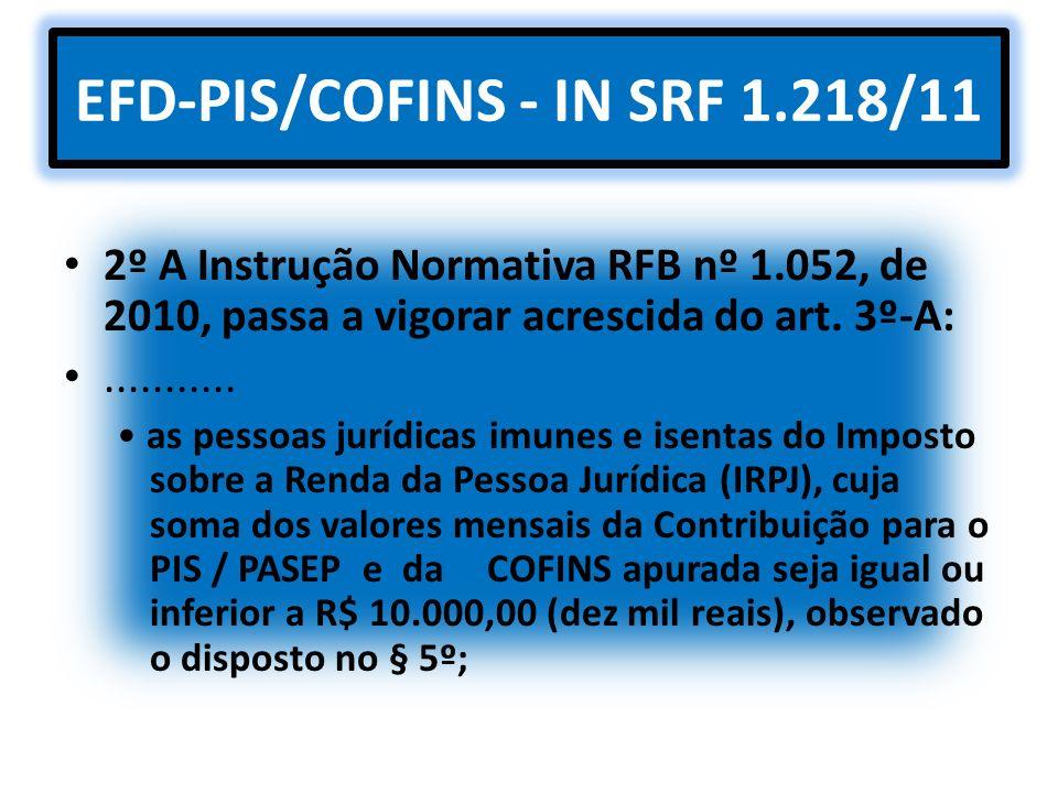 EFD-PIS/COFINS - IN SRF 1.218/11