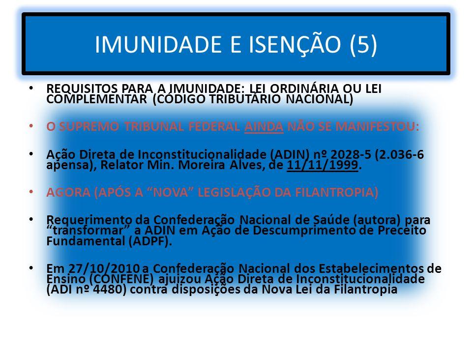 IMUNIDADE E ISENÇÃO (5) REQUISITOS PARA A IMUNIDADE: LEI ORDINÁRIA OU LEI COMPLEMENTAR (CÓDIGO TRIBUTÁRIO NACIONAL)