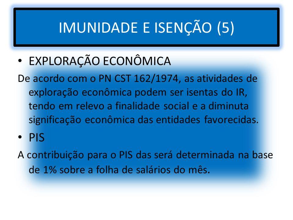 IMUNIDADE E ISENÇÃO (5) EXPLORAÇÃO ECONÔMICA PIS