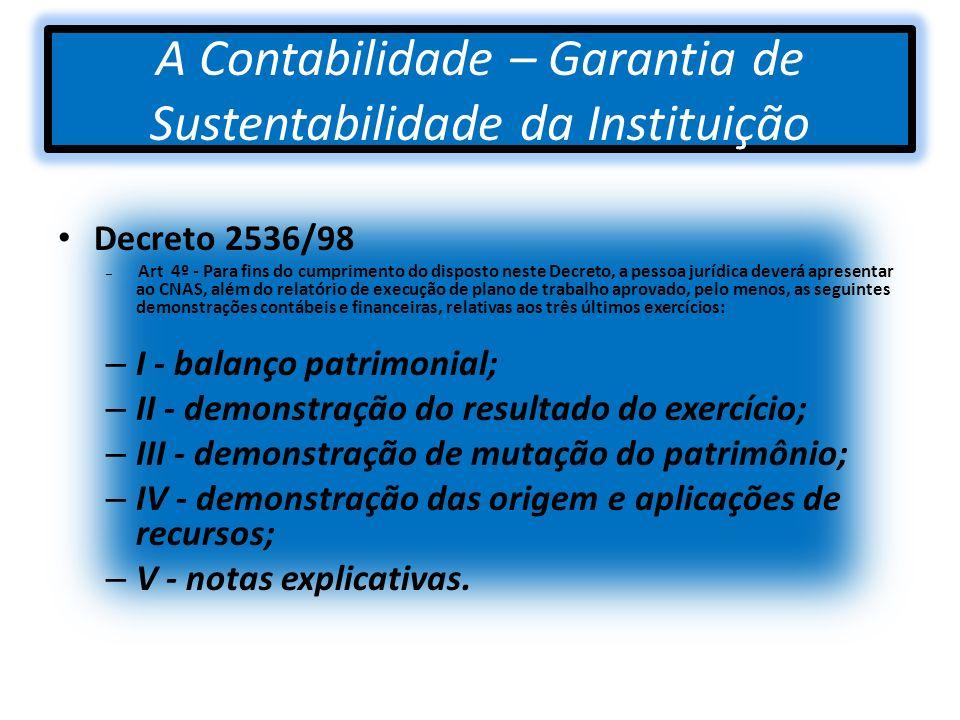 A Contabilidade – Garantia de Sustentabilidade da Instituição
