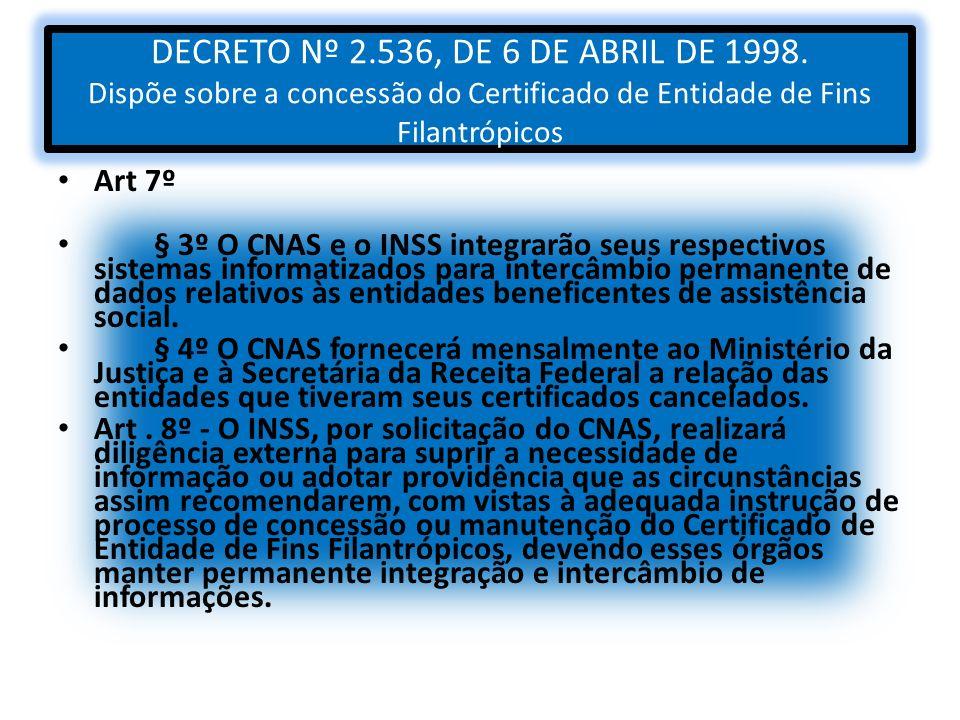 DECRETO Nº 2. 536, DE 6 DE ABRIL DE 1998