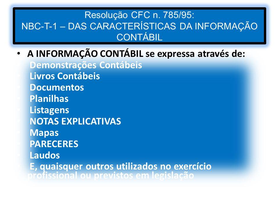 A INFORMAÇÃO CONTÁBIL se expressa através de: Demonstrações Contábeis