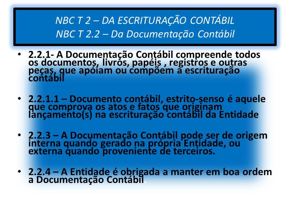 NBC T 2 – DA ESCRITURAÇÃO CONTÁBIL NBC T 2
