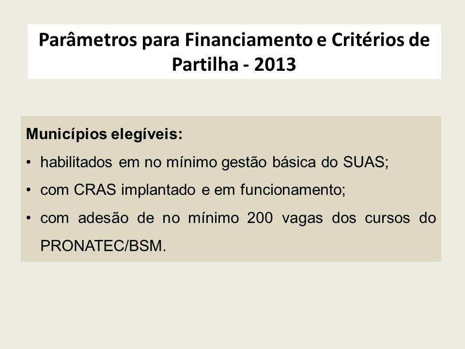 Parâmetros para Financiamento e Critérios de Partilha - 2013