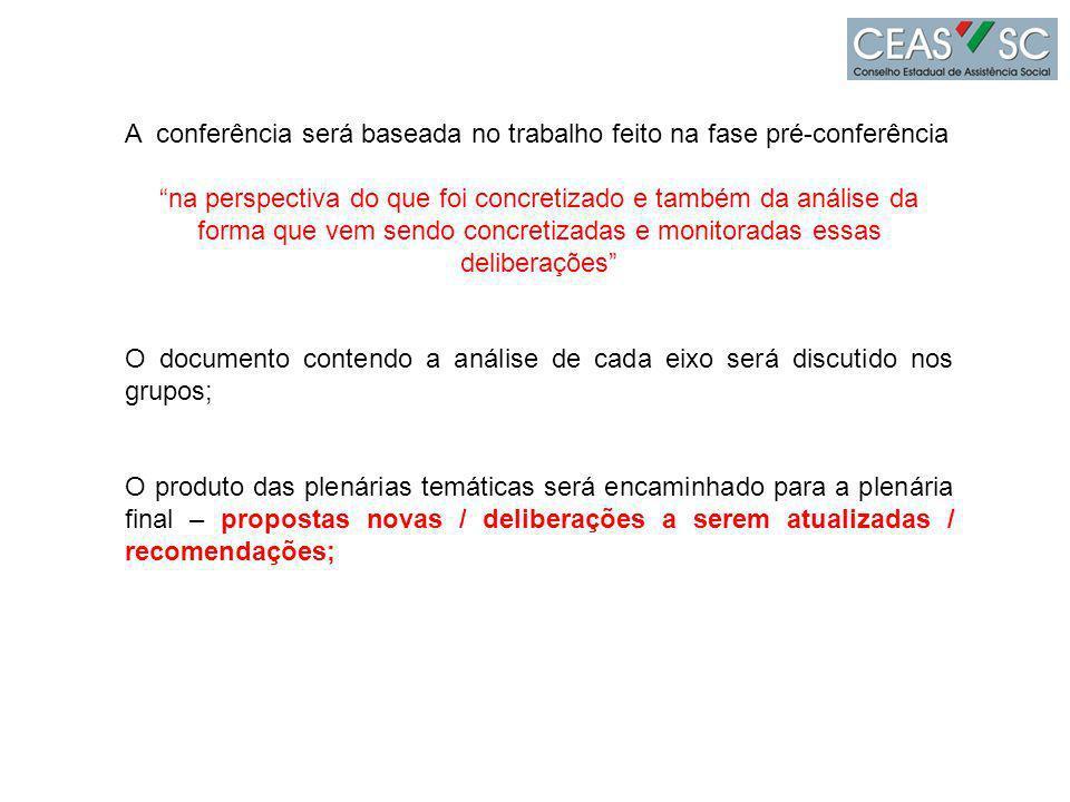 A conferência será baseada no trabalho feito na fase pré-conferência