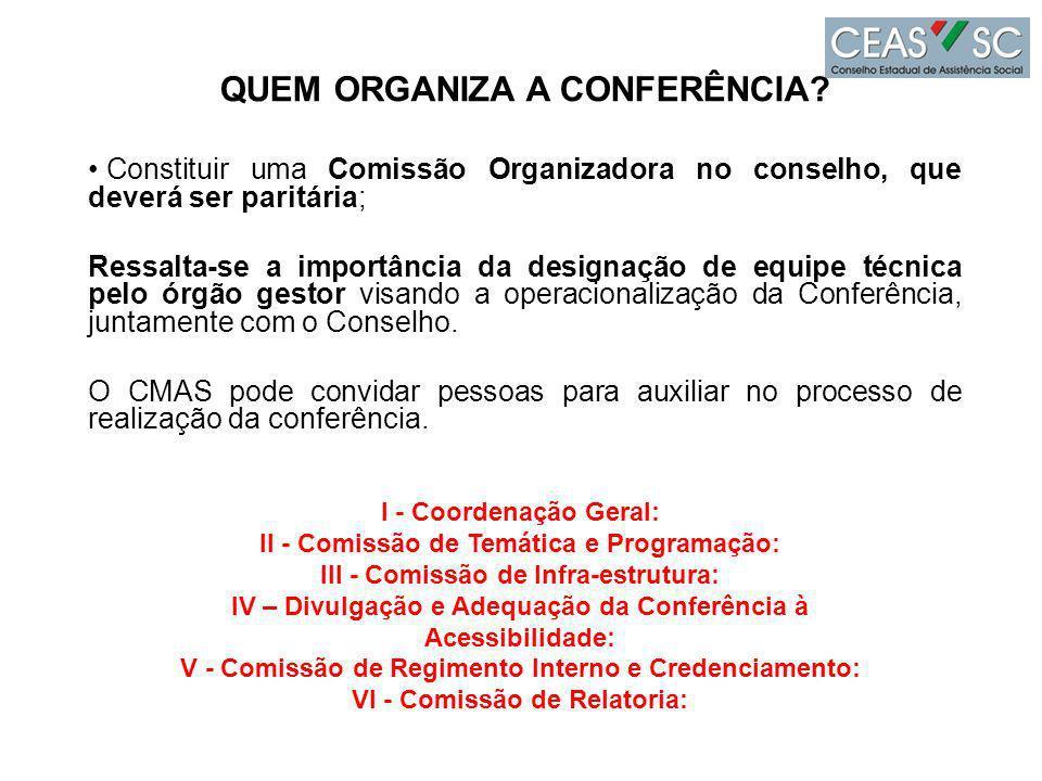 QUEM ORGANIZA A CONFERÊNCIA VI - Comissão de Relatoria: