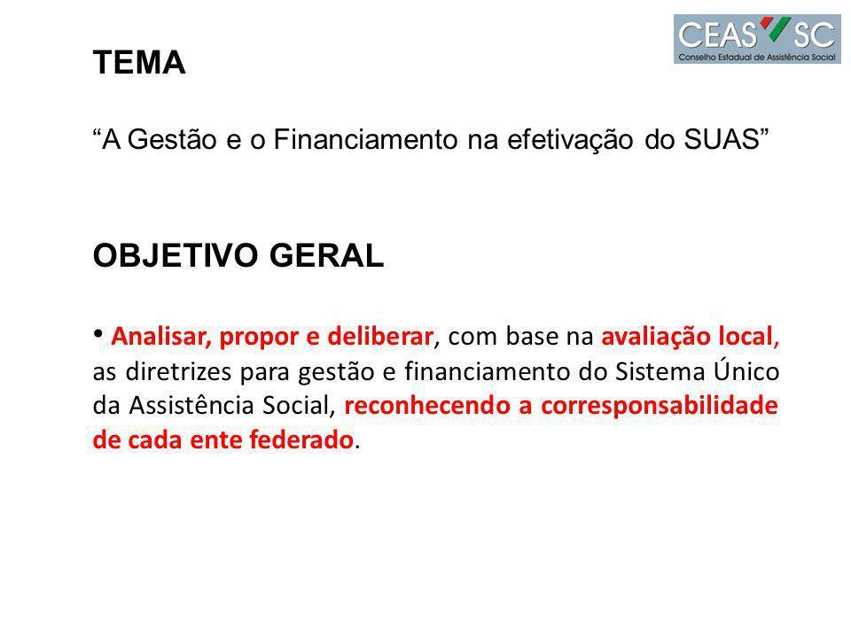TEMA A Gestão e o Financiamento na efetivação do SUAS OBJETIVO GERAL.