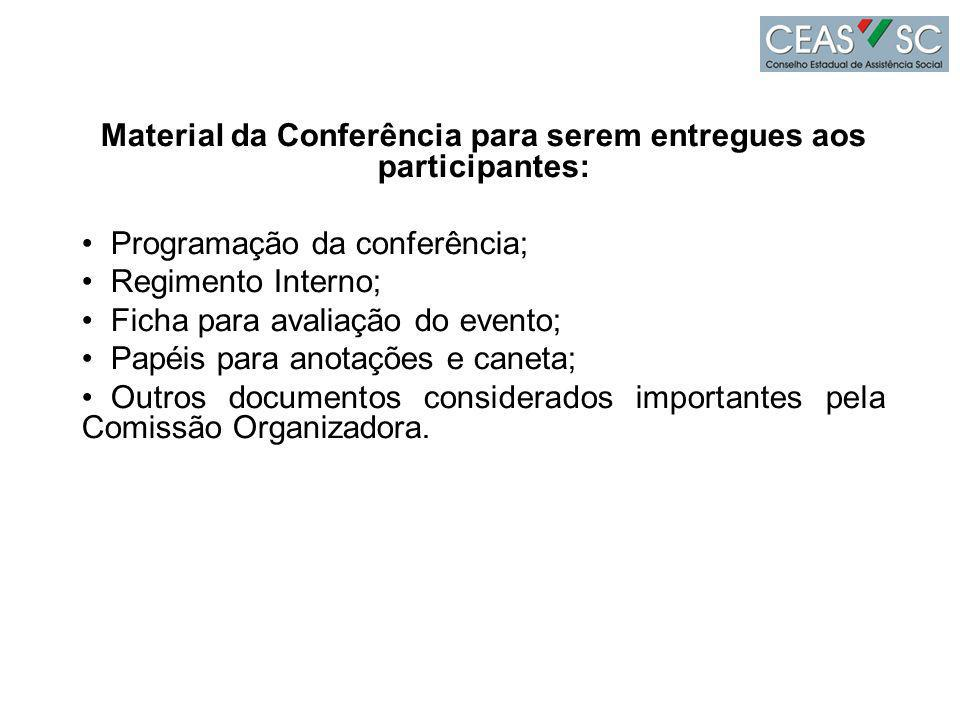 Material da Conferência para serem entregues aos participantes: