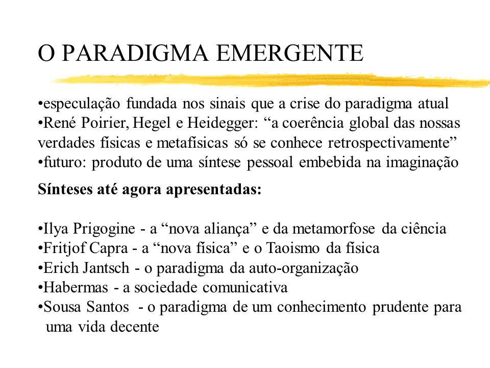 O PARADIGMA EMERGENTE especulação fundada nos sinais que a crise do paradigma atual. René Poirier, Hegel e Heidegger: a coerência global das nossas.