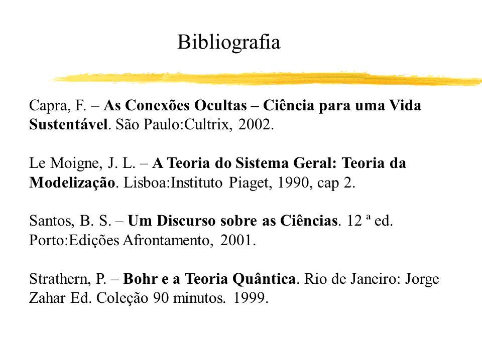 Bibliografia Capra, F. – As Conexões Ocultas – Ciência para uma Vida Sustentável. São Paulo:Cultrix, 2002.