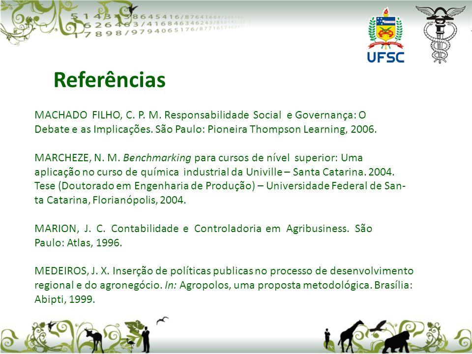Referências MACHADO FILHO, C. P. M. Responsabilidade Social e Governança: O.