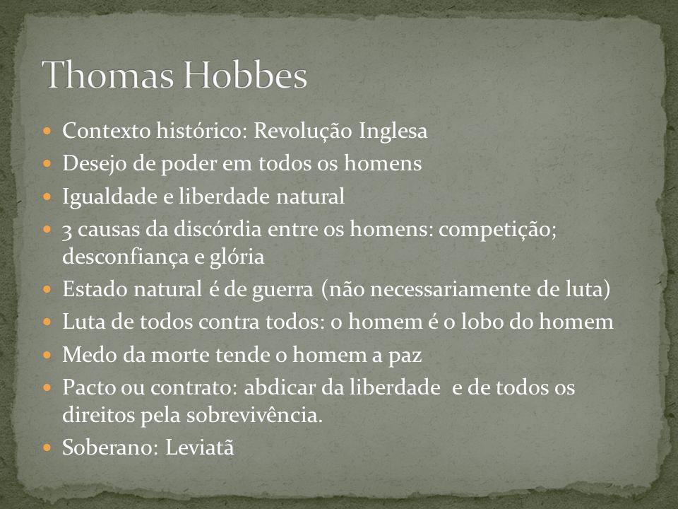 Thomas Hobbes Contexto histórico: Revolução Inglesa