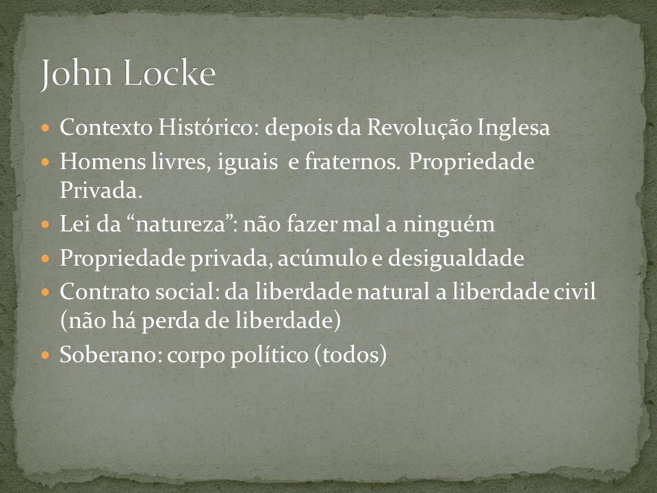 John Locke Contexto Histórico: depois da Revolução Inglesa