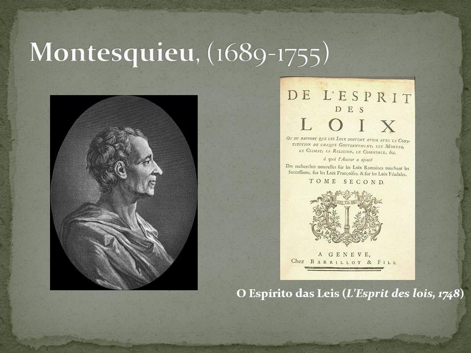 Montesquieu, (1689-1755) O Espírito das Leis (L Esprit des lois, 1748)