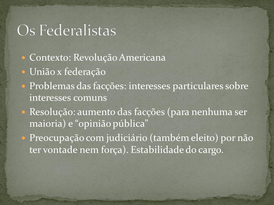 Os Federalistas Contexto: Revolução Americana União x federação