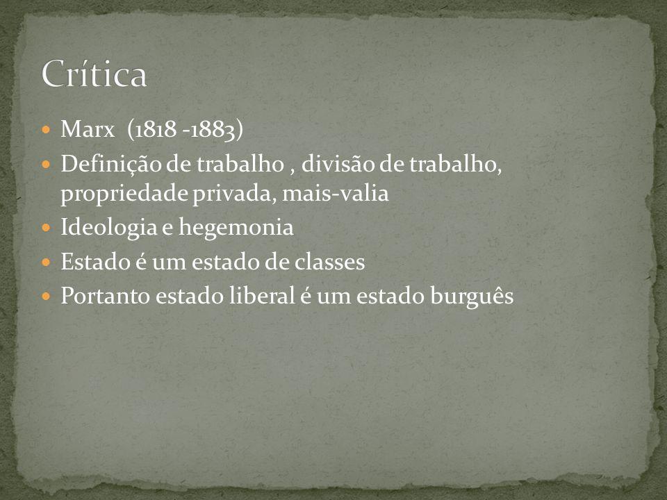 Crítica Marx (1818 -1883) Definição de trabalho , divisão de trabalho, propriedade privada, mais-valia.