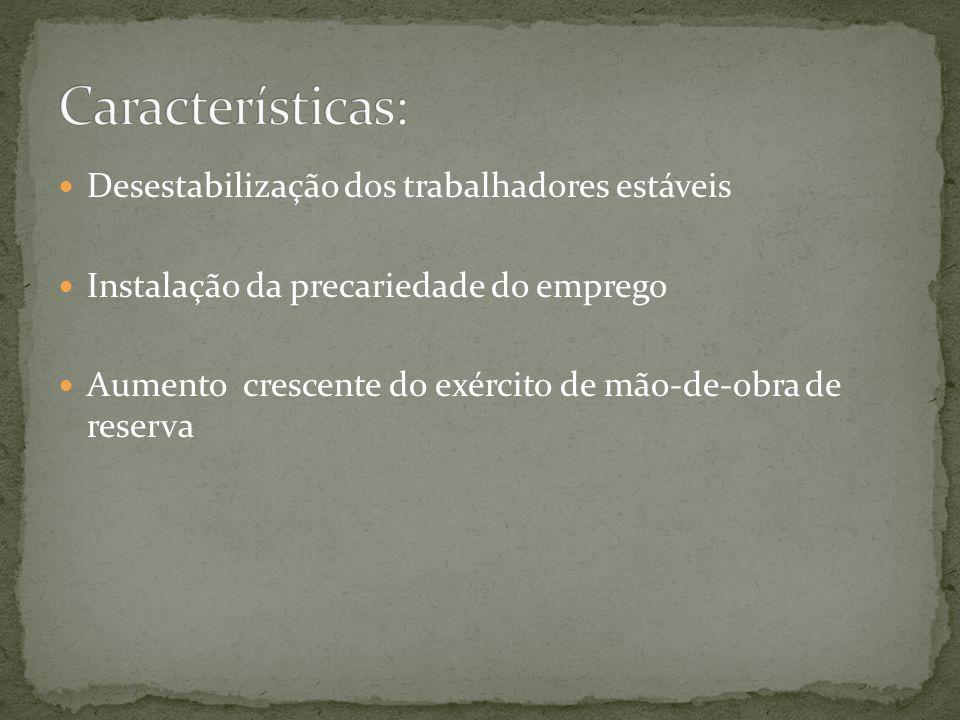 Características: Desestabilização dos trabalhadores estáveis