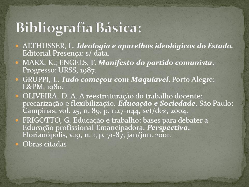 Bibliografia Básica: ALTHUSSER, L. Ideologia e aparelhos ideológicos do Estado. Editorial Presença: s/ data.