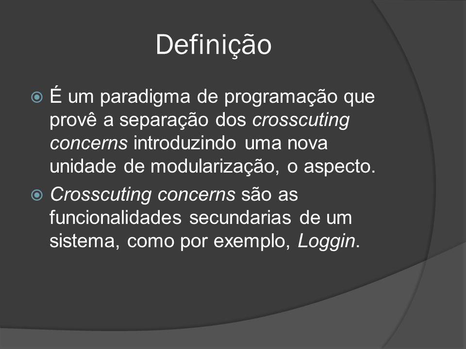 Definição É um paradigma de programação que provê a separação dos crosscuting concerns introduzindo uma nova unidade de modularização, o aspecto.