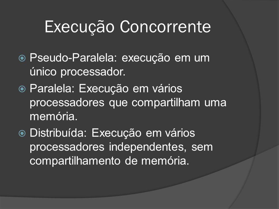 Execução Concorrente Pseudo-Paralela: execução em um único processador. Paralela: Execução em vários processadores que compartilham uma memória.