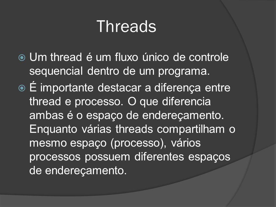 Threads Um thread é um fluxo único de controle sequencial dentro de um programa.